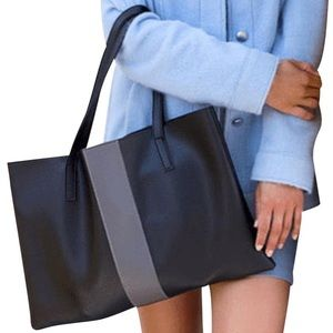VINCE CAMUTO Luck Tote in Black with Grey Stripe